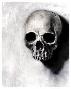 Found Series   skull black and white art by TheHauntedHollowTree, #halloween #art #skull