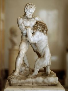 Hercules (Heracles) battling the Nemean lion, Roman statuette (marble), 2nd-3rd century AD (restorations 17th c.), (The Hermitage, St Petersburg).