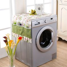 1 piece Dust Cover for Washing Machine Microwave Oven Refrigerator Polyester Faric Flower Dustproof Storage Bags Home Decor - - Diy Crafts Hacks, Diy Home Crafts, Diy Home Decor, Diy Para A Casa, Bed Cover Design, Washing Machine Cover, Kitchen Hand Towels, Baby Sewing Projects, Furniture Covers