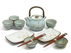 Pale Green Plum Sushi and Tea Set - http://www.mysushiset.com/sushi-tea-set-pale-green-plum.html