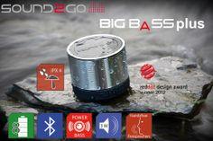 SOUND2GO BigBass Plus – Bluetooth 3.0 Lautsprecher mit Freisprecheinrichtung  Der mobile und leistungsfähige Lautsprecher überträgt Musik kabellos mit Bluetooth-Technologie von Smartphones, Tablets, MP3-Playern, Laptops und Computern. Er ist ein echter Blickfang. Im Haus, beim Sport und bei allen Freizeitveranstaltungen ist er ein zuverlässiger Begleiter.  - integrierte Freisprecheinrichtung - exzellenter Sound und knackige Bässe - edles Aluminium-Design - Funktionstasten am Lautsprecher
