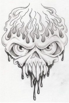 skull in flames 3 by markfellows on DeviantArt Evil Skull Tattoo, Skull Tattoos, Body Art Tattoos, Sketch Tattoo Design, Skull Tattoo Design, Cool Drawings, Drawing Sketches, Skull Drawings, Flame Tattoos