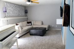 studio/basement idea: song lyric canvas in the living space