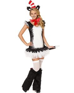Cat in the Hat Dress Adult Womens Costume at Spirit Halloween - Another Seuss character is on the loose in the Officially Licensed Cat in the Hat Dress Adult Women's Costume. Features white and black dress with tutu, red bowtie, and stripped headpiece with cat ears. Get this classic character for $49.99