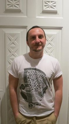 Ciprian Vrabie and his designer T-shirt