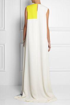 Roksanda Ilincic|Color-block double wool-crepe gown|NET-A-PORTER.COM
