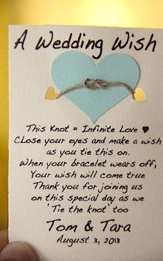 YAy A Wedding Wish Bracelet- TIE THE KNOT with Us, wedding party favors, wish bracelets, wedding wish bracelets, wedding guest gifts on Etsy, $1.80