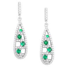 La Preciosa Sterling Silver Micropave Green and CZ Teardrop Earrings, Women's