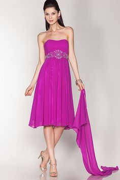 Solid, Strapless Cocktail Dress With A Sweetheart Cut Neck. Dress Is Strapless And Features Pleated Bust With Embellished Jewel Detail At Waist. Dress Has Zipper Closure On Back And Chiffon Skirt Overlay. Comes With Matching Shawl.