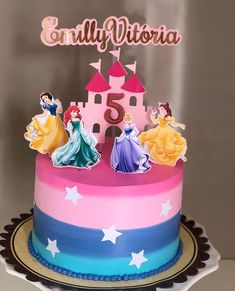 Princess Theme Party, Disney Princess Party, Princess Birthday, 7th Birthday, Birthday Cake, Mix, Princesas Disney, Jasmine, Cake Toppers