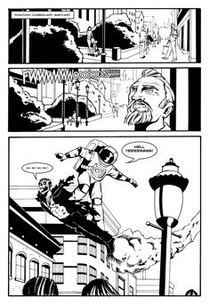 Dr. McNinja surfing a Draculabot from the Moon to Earth. By Chris Hastings.
