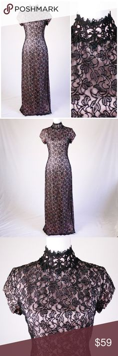13a9ccad7d7 VTG 90s CACHE Pink Black Lace Mock Neck Gown Dress Feminine and sexy  without even having