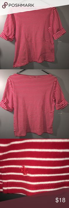 """Lauren Ralph Lauren Striped Top Women's cuffed short sleeve blouse size large. Super super cute. I wish it fit me. Has a boat neck collar (I think that's what it's called?!) Nice stretch to it. GREAT condition.   ❗️IF YOU'RE CURIOUS ABOUT SHIPPING, PLEASE CHECK OUT MY """"MEET THE POSHER"""" LISTING FOR INFORMATION❗️ Lauren Ralph Lauren Tops Tees - Short Sleeve"""