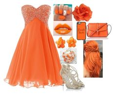 """""""Prom Rainbow: Orange"""" by kiara-fleming ❤ liked on Polyvore featuring Jimmy Choo, Casetify and L.K.Bennett"""