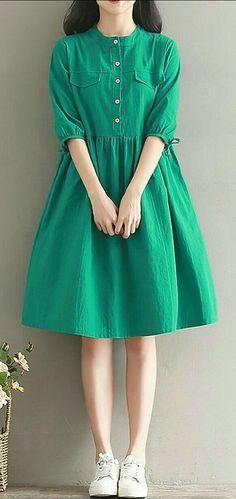Women loose fit over plus size dress green button skater skirt casual fashion ~ THE PİN Stylish Dresses, Simple Dresses, Nice Dresses, Casual Dresses, Casual Shoes, Halter Dresses, Maxi Dresses, Evening Dresses, Stylish Dress Designs
