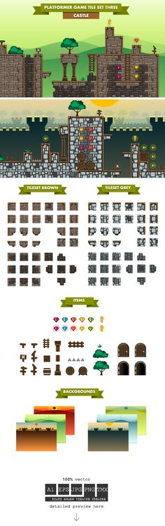 Platformer Game Tile Set Three on Behance