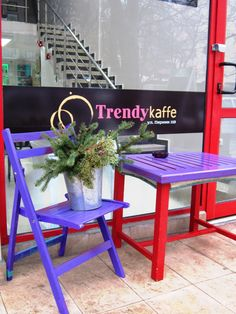 Trendykaffe - Sofia, Bulgaria,119 Pernik str. ( corner of Al. Stamboliysky blv. and Pernik str.) - purple and red of the wooden table and garden chair are inspirited by old colourful village carriages.