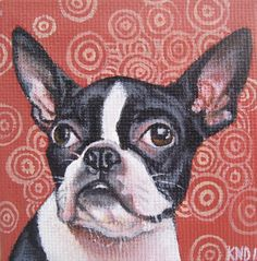 Boston Terrier Miniature Painting with Easel by aBrushWithLove