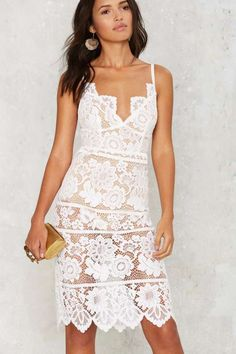 For Love & Lemons Gianna Midi Dress - White - Dresses