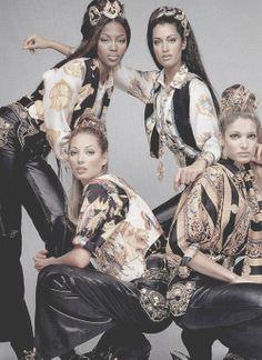 Versace Atelier 1992 (Catalogue)Models: Naomi Campbell, Yasmeen Ghauri, Christy Turlington  Stephanie SeymourPhotographer: Patrick Demarchelier