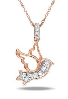 0.1 ct Diamond Dove Pendant in 10k Pink Gold