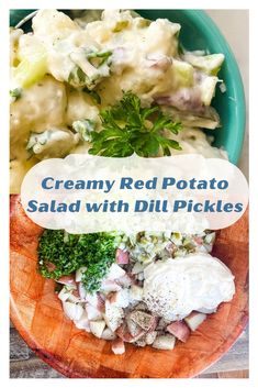 Homestyle Red Potato Salad with Dill Pickles. This red potato salad is a creamy mayo version with crunchy bits of celery and salty, briny, dilly pickles. Serve along side hamburgers and hotdogs, grilled barbecue chicken or steak or with your favorite sandwich. #potatosaladeasy #potatosaladrecipe #potatosaladdill #potatosaladredskin Potato Salad Dill, Creamy Potato Salad, Barbecue Chicken, Bbq, Food Dishes, Side Dishes, How To Store Potatoes, Tomato Relish, Friend Recipe