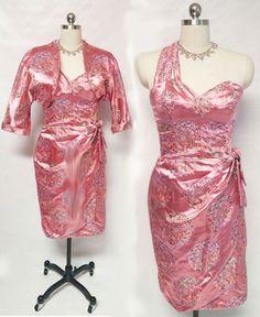 VINTAGE BOMBSHELL SARONG SATIN BROCADE DRESS WITH MATCHING BOLERO JACKET IN MAI TAI PINK