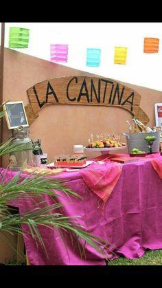 La cantina sign at the bar