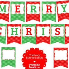 """Deck the halls with these cute festive Merry Christmas polka dot banner letters in red and green. These Merry Christmas polka dot banner letters spell out the phrase """"Merry Christmas"""". Merry Christmas Banner Printable, Printable Banner Letters, Christmas Bunting, Christmas Door Decorations, Free Christmas Printables, Christmas Clipart, Christmas Program, Free Printables, Christmas Party Images"""