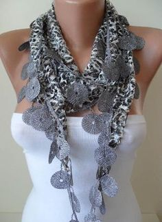 Perforated Fabric Grey Scarf with Trim Edge