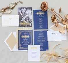 Gatsby Wedding Invitation Suite - art deco wedding set - 1920s wedding invitation collection - Deposit to begin order
