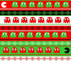 would be great as giftwrap.  Geektastic Christmas fabric by implexity on Spoonflower - custom fabric