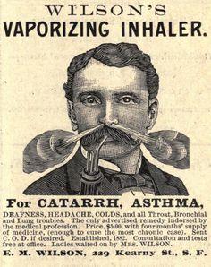 """Wilson's Vaporizing Inhaler, de 1883, """"para el catarro, asma, sordera, dolor de cabeza y para todo padecimiento de los bronquios y los pulmones""""."""