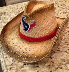 Houston Texans cowgirl hat by BlingBlingLicious on Etsy Texans Game, Houston Texans Football, Football Cheer, Houston Astros, Football Season, Bulls On Parade, Cowgirl Hats, Cowboys, Jj Watt