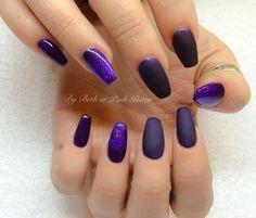 Purple Coffin Matte Glitter Nails