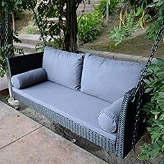 Black Wicker Patio Furniture for your Beach Outdoor Decor! We love outdoor coastal furniture and wicker furniture sets are a great option. Wicker Porch Swing, Hanging Swing Chair, Swinging Chair, Wicker Patio Furniture Sets, Wicker Dining Set, Dining Sets, Coastal Furniture, Wicker Ottoman, Outdoor Sofa