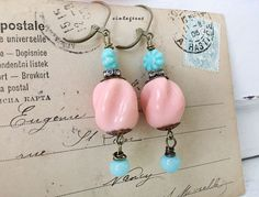 dinnerMintupcycled beaded earrings vintage beads pastel by Arey