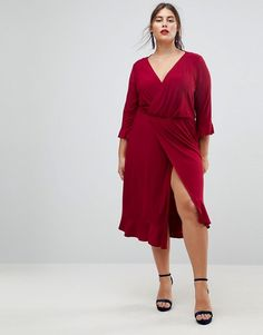 Wrap Front Pencil Midi Dress - Red Asos Curve