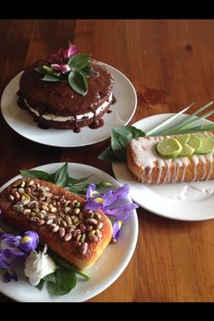 Lemon and lime drizzle cake. Rose, pistchio and almond cake Chocolate, orange and almond cake.  http://tastethelove.co.uk/