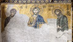 Deesis Mosaic—an ancient Pantocrator Christ that was arguably one of the most mysterious pieces of art in Hagia Sophia Hagia Sophia Istanbul, Sainte Sophie, Christ Pantocrator, Byzantine Art, Byzantine Mosaics, John The Baptist, Orthodox Icons, Sacred Art, Religious Art