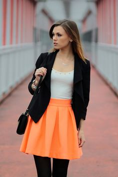 Orange Women Skirts Spring Summer Neon Orange Skater Short Skirt Casual Bright Color Mini Skirts Saia Femal Girl on Etsy, 33,00$