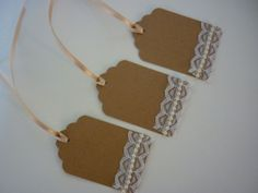 Vintage/Rustic Wedding Favour Labels, Wishing Tree Tags. Lace, Pearl, Heart. via Etsy.