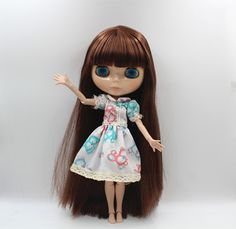 53.00$  Buy now - Blygirl Blyth doll Nude doll brown bangs straight hair 30cm joint body 19 joint DIY doll can change makeup  #buymethat