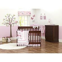 Just Born Antique Chic 7-Piece Crib Bedding Set. kinda looks alice in wonderland to me, even has the white rabbits