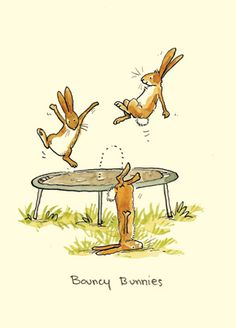 M132 BOUNCING BUNNIES - a Two Bad Mice card by Anita Jeram