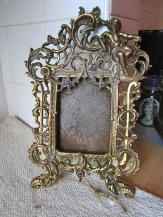 Vintage Brass Picture Frame Photo French Baroque Rococo Style Gold Old Cherub