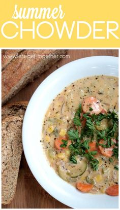 Summer Chowder from Let's Get Together - 7 veggie soup, perfect for summer and all of those in-season and garden vegetables! #summer #garden #soup