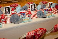 Here is a cute way to decorate the tables for a train themed birthday party and a clever way to display the railroad themed hat and bandana party favors!
