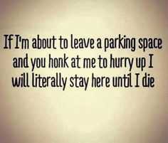 Don't push me!!! The parking space is MINE until I am completely done with it...