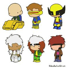 Lil' X-Men: Charles Xavier's School for Gifted Children booster pack! This pack includes Professor Charles Xavier AKA Professor X, Scott Summer AKA Cyclops, Logan AKA Wolverine, Ororo Munroe AKA Storm, Anna Marie AKA Rogue and Remy LeBeau AKA Gambit! Like these? Buy the stickershere!